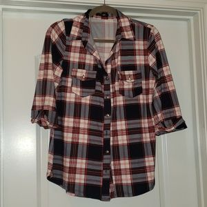Papermoon L Brushed knit button up plaid shirt